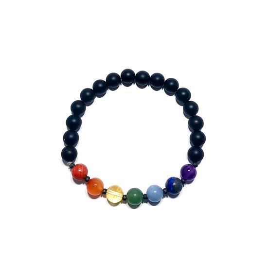 7 Chakra Bracelet with Black Onyx and Hematite
