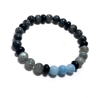 Aquamarine, Labradorite, Norwegian Moonstone and Onyx Bracelet