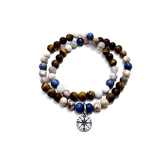Sunset Dumortierite, Smoky Dendritic Agate and Tigers Eye Double Wrap Bracelet