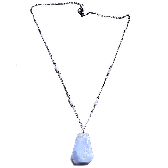 Faceted Blue Lace Agate Necklace with Blue Chalcedony Pendant