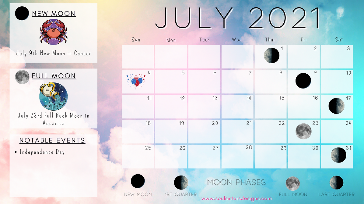 JuLY 2021 Moon Phases Calendar by Soul Sisters Designs