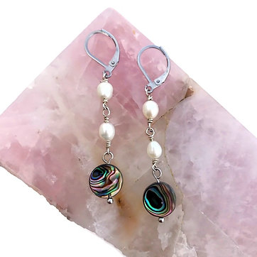 Freshwater Pearl and Abalone Shell Earrings