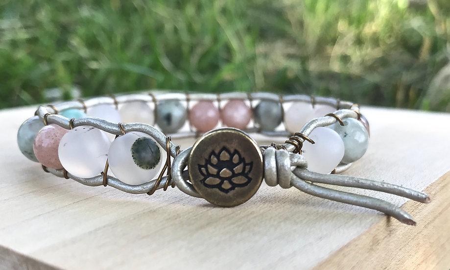 Sunstone, Kiwi Jasper and Montana Agate Leather Wrap Bracelet