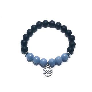 Aquarius Bracelet with Angelite, Hematite and Onyx