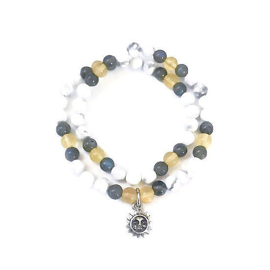 Yellow Fluorite, Labradorite and Howlite Double Wrap with Sun Charm