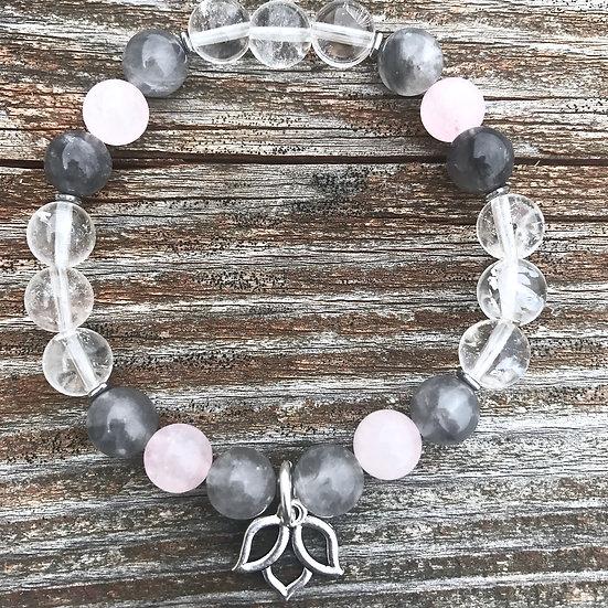 Quartz, Gray Smokey Quartz, Hematite and Rose Quartz Bracelet with Lotus Charm