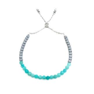 Amazonite and Hematite Adjustable Mini  Gemstone Bracelet