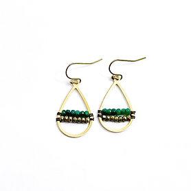 Emerald and Hematite Earrings