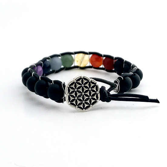 7 Chakras Leather Wrap Bracelet with Matte Black Onyx