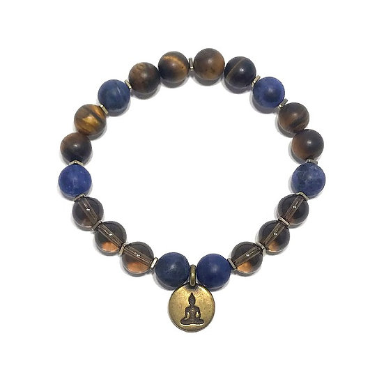Smoky Quartz, Sodalite, Tigers Eye and Hematite Bracelet wtih Buddha Charm