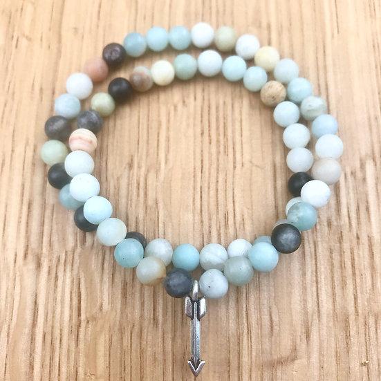 Matte Amazonite Double Wrap Bracelet with Arrow Charm