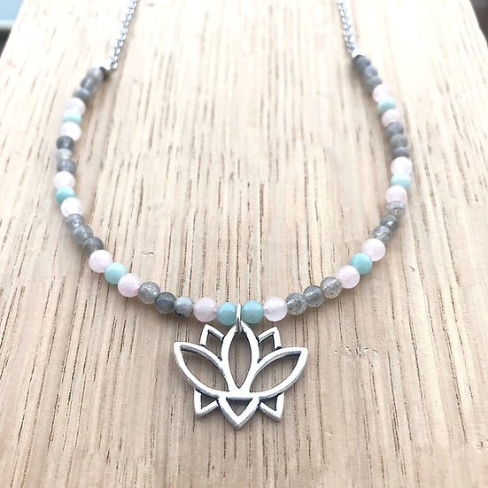 Labradorite, Amazonite and Rose Quartz Beaded Necklace with Lotus Pendant