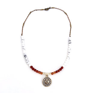 Citrine, Carnelian, Red Coral and Howlite Beaded Necklace with Sun Pendant