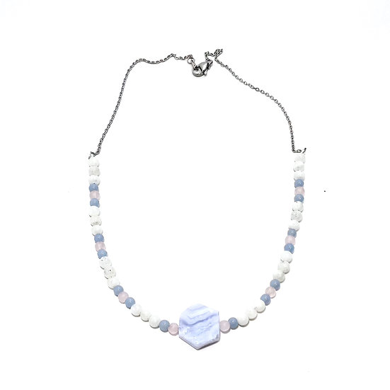 Angelite, Rose Quartz and Rainbow Moonstone beaded necklace with Blue Lace Agate