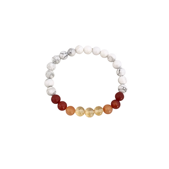 Citrine, Carnelian, Red Coral and Howlite Men's Bracelet