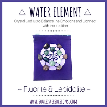 Water Element Healing Crystal Grid Kit with Fluorite and Lepidolite