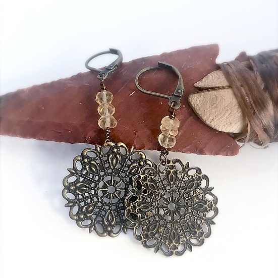 Faceted Citrine and Floral Mandala Earrings
