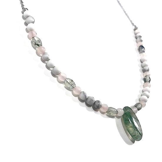 Rose Quartz, Prehnite and Howlite Beaded Necklace with Prehnite Pendant