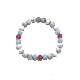 Carnelian, Angelite and Smoky Dendritic Agate Men's Bracelet