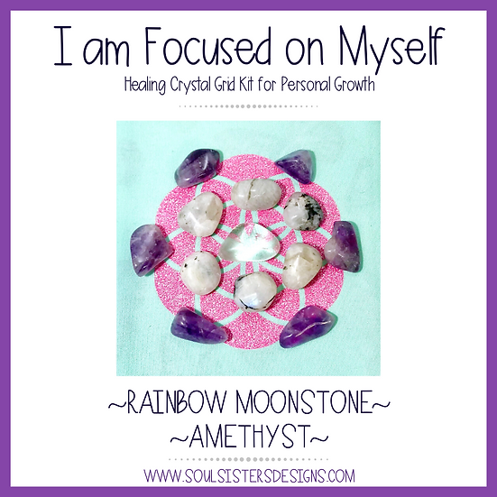 I am Focused on Myself Healing Crystal Grid Kit for Personal Growth