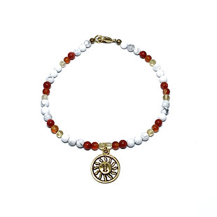 Citrine, Carnelian, Red Coral and Howlite Anklet with Sun Charm