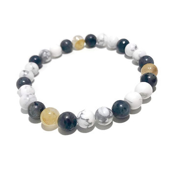 Men's Golden Healer, Norwegian Moonstone and Howlite Bracelet