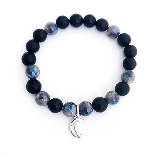 Faceted Mystic Norwegian Moonstone and Black Onyx Bracelet with Moon Charm