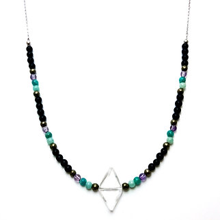 Pyrite, Amazonite, Amethyst and Onyx Beaded Necklace with Diamond Quartz Pendant