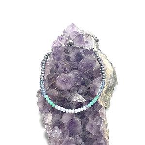 Blue Lace Agate, Chrysoprase, Blue Fluorite and Hematite Adjustable Bracelet