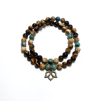 Chrysocolla, Picture Jasper and Tigers Eye Double Wrap Bracelet with Lotus Charm