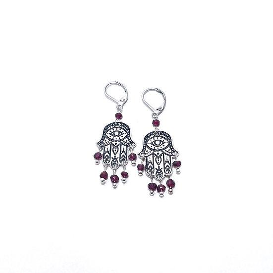 Faceted Garnet Hamsa Earrings