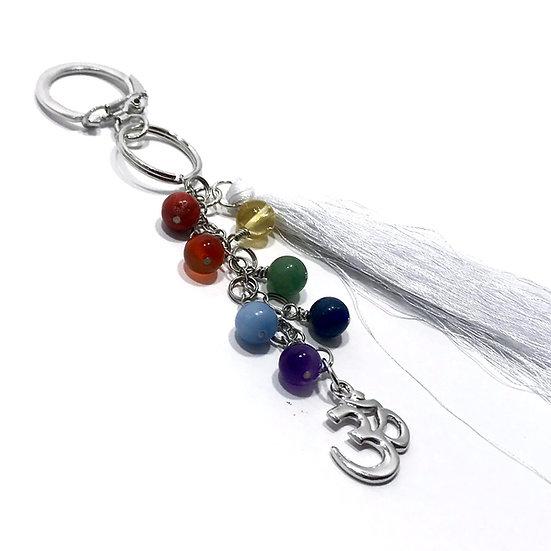 7 Chakra Tassel Keychain with Om Charm