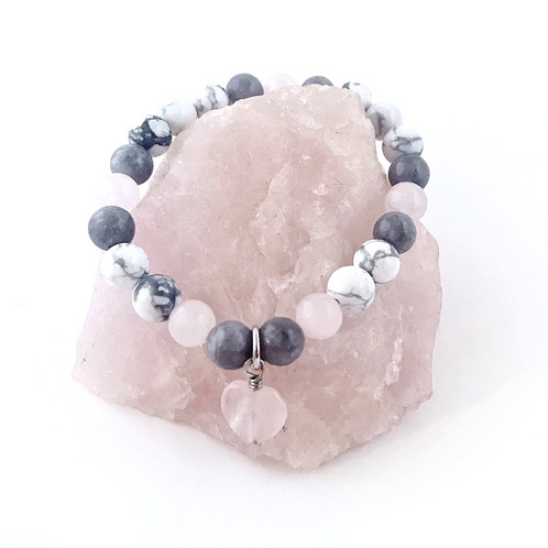 This Handcrafted Design Features Healing Crsytal Beads Of Rose Quartz Howlite And Gray Jade The Were Strung On Prestretched Elastic Cord To 7 In