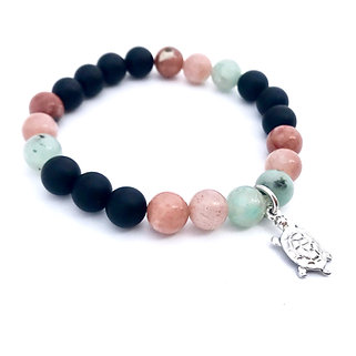 Kiwi Jasper, Sunstone, Plum Blossom Jasper and Onyx Bracelet with Turtle Charm