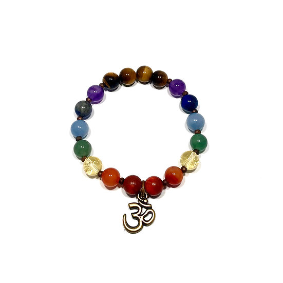 7 Chakra Bracelet with Tigers Eye and Hematite and an Om Charm