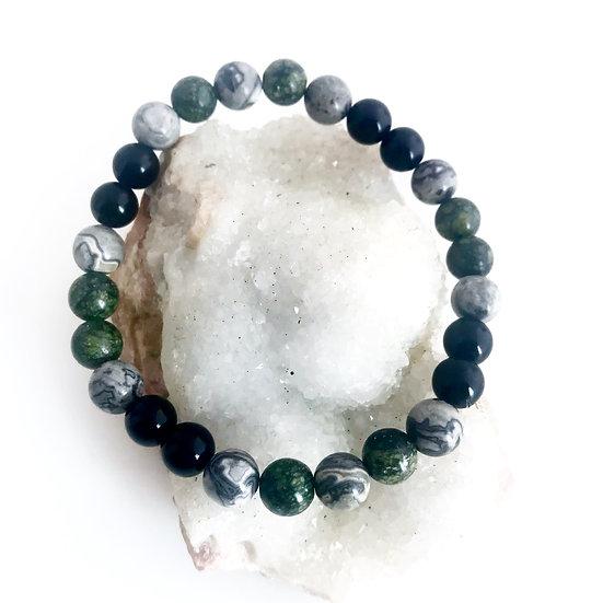 Obsidian, Picasso Jasper and Serpentine Bracelet