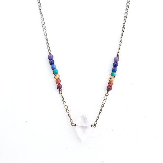7 Chakras Necklace with Diamond Quartz Point Pendant in Brass
