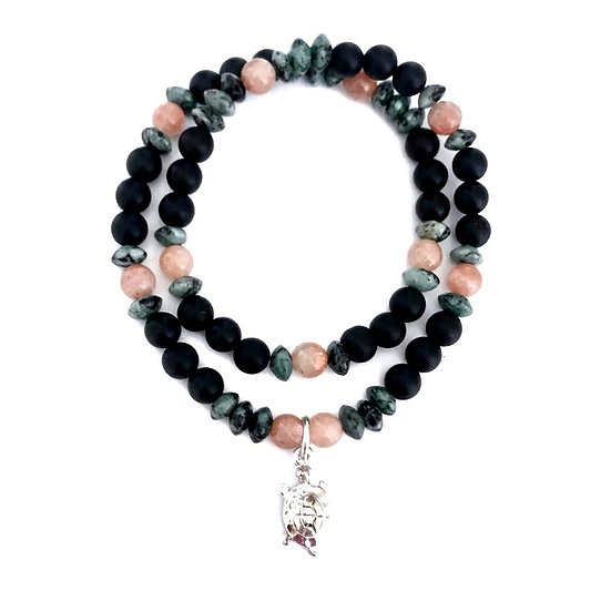 Sunstone, African Turquoise and Onyx Double Wrap Bracelet with Turtle Charm