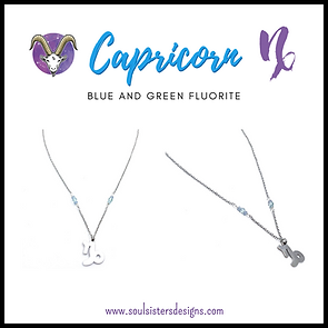 Capricorn Zodiac Necklace with Blue and Green Fluorite