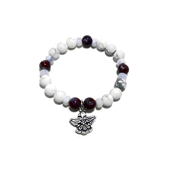 Red Lightning Agate, Blue Lace Agate and Howlite Bracelet with Thunderbird Charm