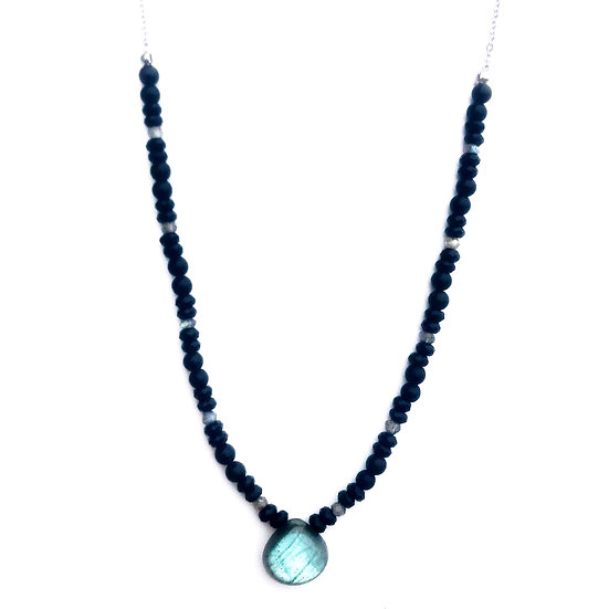 Labradorite with Faceted and Matte Black Onyx Beaded Necklace