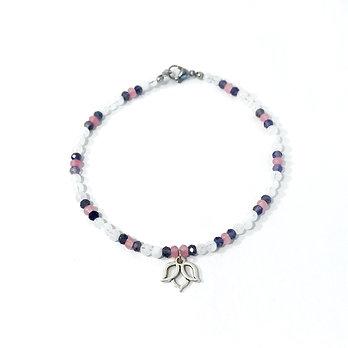 Rose Quartz, Iolite and Rainbow Moonstone Anklet with Lotus Charm