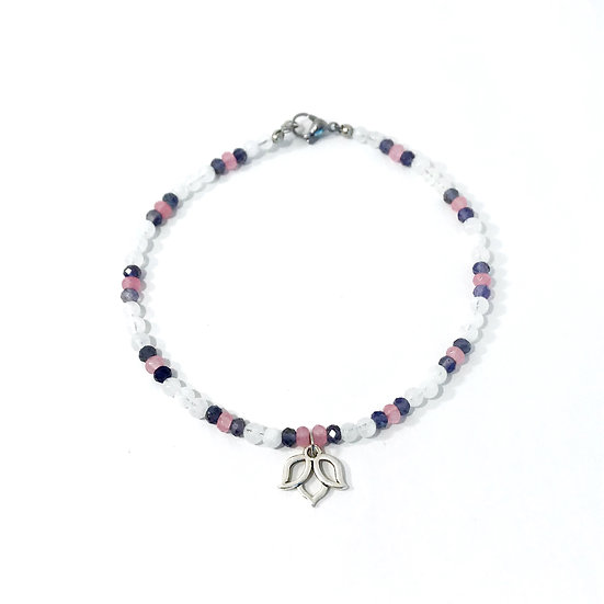 Rose Quartz, Iolite and Rainbow Moonstone Anklet with Lotus Charm