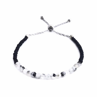Rainbow Moonstone and Black Spinel Adjustable Mini Gemstone Bracelet
