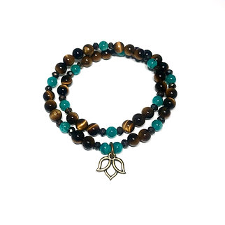 Russian Amazonite, Mystic Pyrite and Tigers Eye Double Wrap Bracelet with Lotus