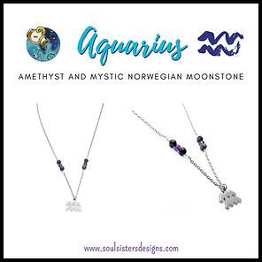 Aquarius Zodiac Necklace with Mystic Norwegian Moonstone and Amethyst