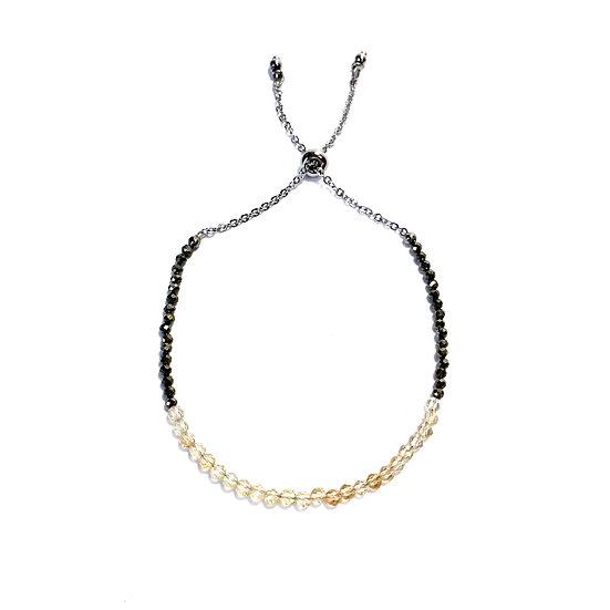 Citrine and Pyrite Adjustable Mini Gemstone Bracelet