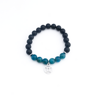 Gemini Bracelet with Apatite, Hematite and Onyx