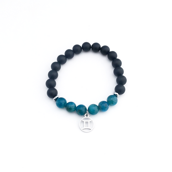 Gemini Bracelet with Apatite, Hematite and Onyx