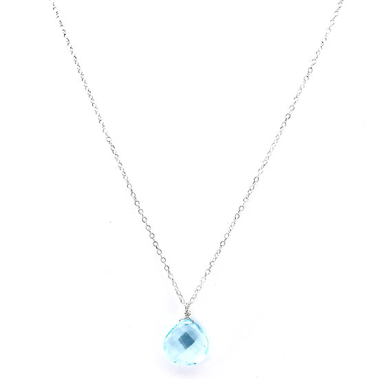 Faceted Blue Topaz Pendant on Sterling Silver Chain